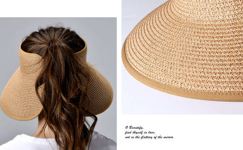 StrawHat™ Foldable Summer Straw Ponytail Roll Up Hat - Womens Beach Sun Straw Hat - Travel Foldable Brim Summer UV Hat