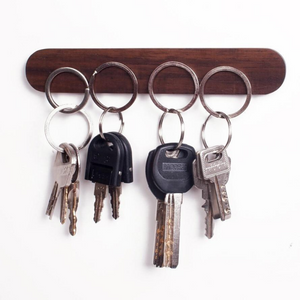 Wall Mounted Wooden Key Holder Dark Brown - 15.5cm - Shopptique