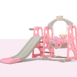 3 in 1 Kids Swing Set Playhouse With Slide Pink - Shopptique