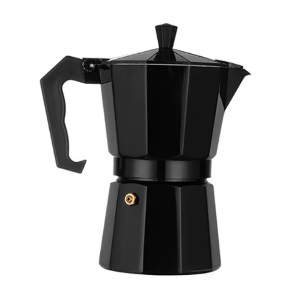 Aluminum Stovetop Moka Coffee Maker Espresso Pot Black 300ml - Shopptique