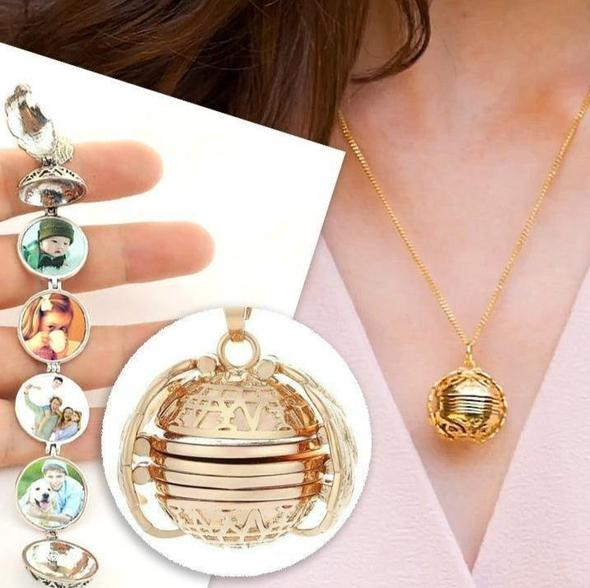 Expanding Angel Photo Locket Love Lock Necklace Set - Concentric Lock Key Titanium Steel Stainless Steel Jewelry Bracelet Gold - Shopptique