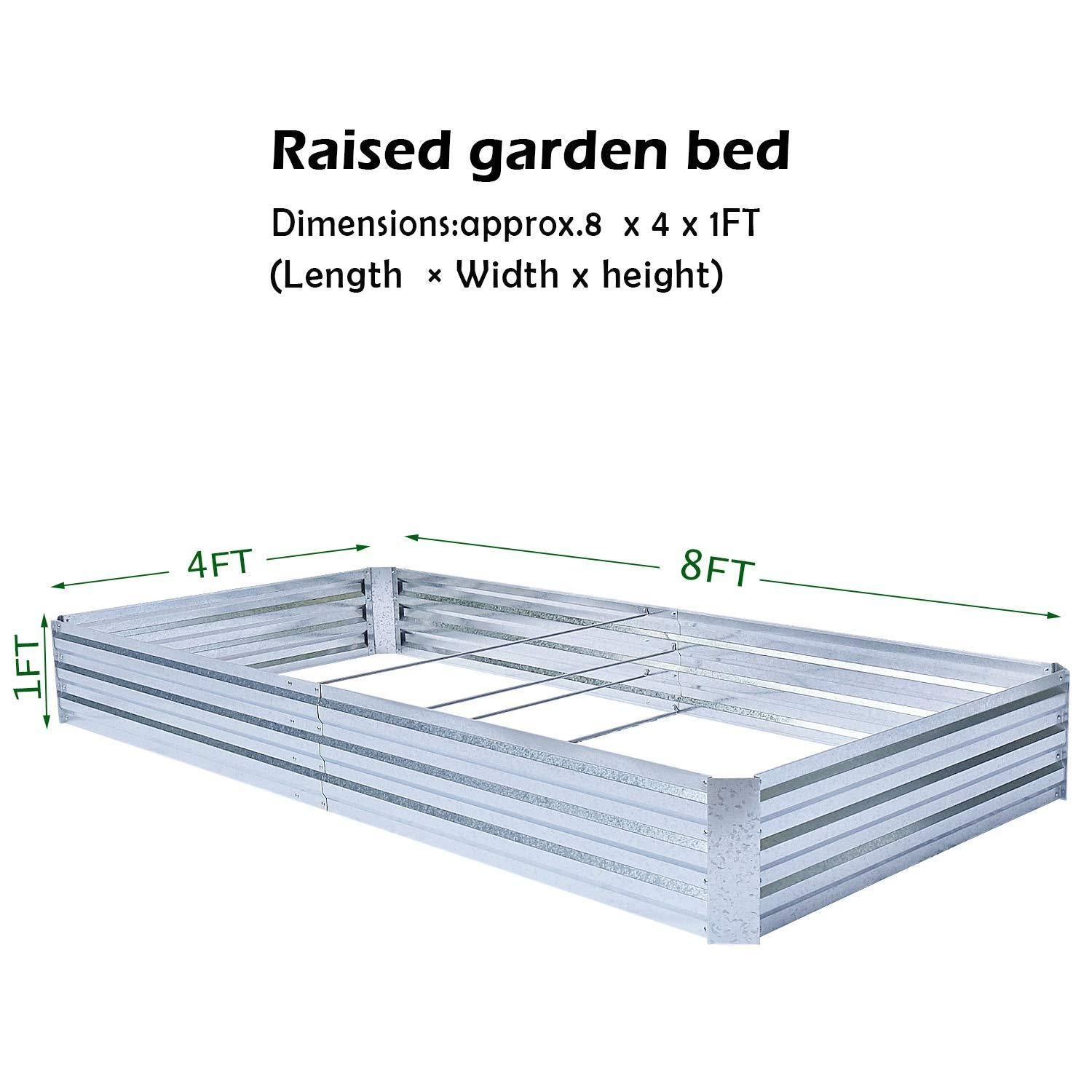 Heavy Duty Raised Garden Bed Planter Elevated Box - 8ft x 4ft x 1ft - Shopptique