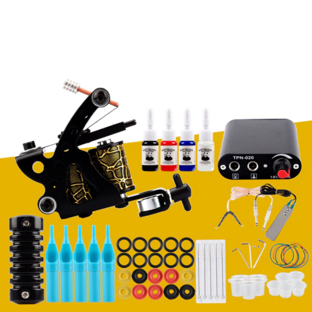 Premium Tattoo Machine Starter Kit One Machine-4 Inks - Shopptique