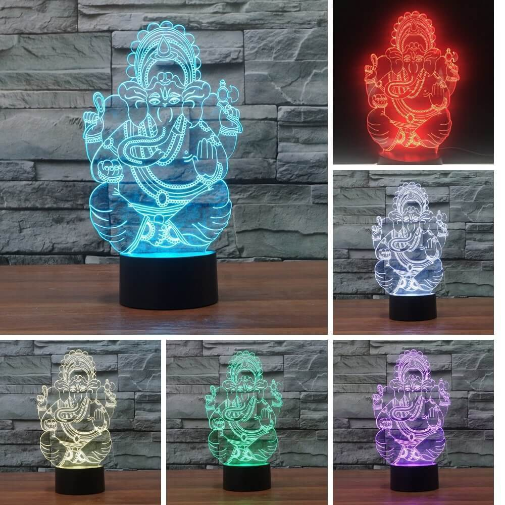 3D Diwali Lamp - 7 Color Interchangeable 3D Diwali Lamp - Goddess Lakshmi - Lord Ganesha - Diwali Gifts Store Lord Ganesh - Shopptique