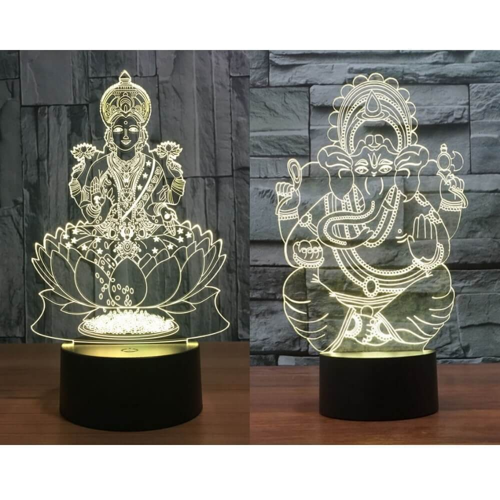 3D Diwali Lamp - 7 Color Interchangeable 3D Diwali Lamp - Goddess Lakshmi - Lord Ganesha - Diwali Gifts Store - Shopptique