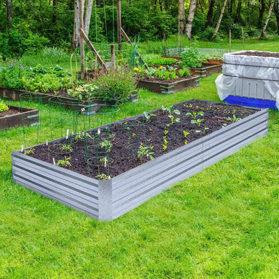 Heavy Duty Raised Garden Bed Planter Elevated Box - 8ft x 4ft x 1ft White - Shopptique