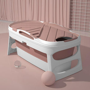 Portable Adult Foldable Bathtub Collapsible Stand Alone Spa Pink - Shopptique