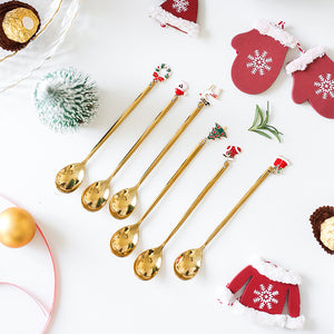 6pcs New Year Decorative Christmas Spoon Set Christmas Spoons Xmas Party Tableware Ornaments Christmas Decorations for Home Gold - Shopptique