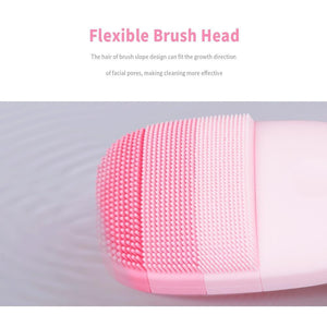 Waterproof and USB Rechargeable Silicone Facial Cleansing Brush Smart Sonic Clean Electric Deep Facial Cleaning Massage Brush Wash Face Care Cleaner Rechargeable - Shopptique