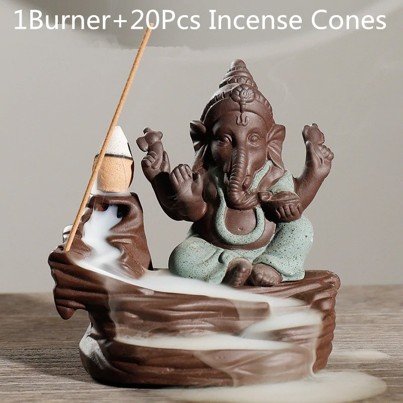 Lord Ganesha Backflow Incense Burner with 20 cones Blue - Shopptique