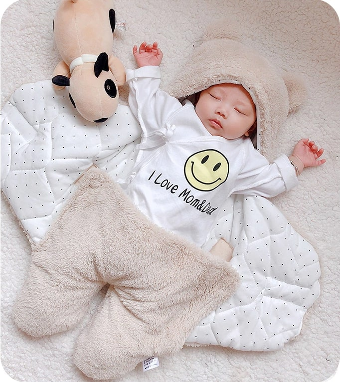 BuddyBed- Ultra Soft Baby Sleeping Bag Baby Sleeping Bag Ultra-Soft Fluffy Fleece Newborn Receiving Blanket Infant Boys Girls ClothesSleeping Nursery Wrap Swaddle Beige / For 3 Months - Shopptique
