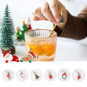 6pcs New Year Decorative Christmas Spoon Set Christmas Spoons Xmas Party Tableware Ornaments Christmas Decorations for Home - Shopptique