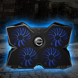 Laptop Cooling Pad Stand With Four Fans Blue - Shopptique