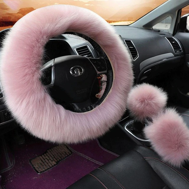 3Pcs Fluffy Set - Fuzzy Steering Wheel Cover Peach - Shopptique