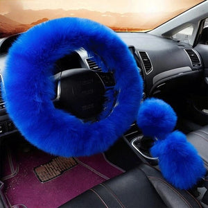 3Pcs Fluffy Set - Fuzzy Steering Wheel Cover Royal Blue - Shopptique