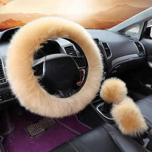 3Pcs Fluffy Set - Fuzzy Steering Wheel Cover Camel - Shopptique
