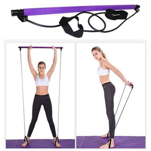 8 in 1 Portable Pilates Bar Kit Pilates Resistance Band and Toning Bar Home Gym, Portable Pilates Total Body Workout, Yoga, Fitness, Stretch, Sculpt, Tone Purple - Shopptique