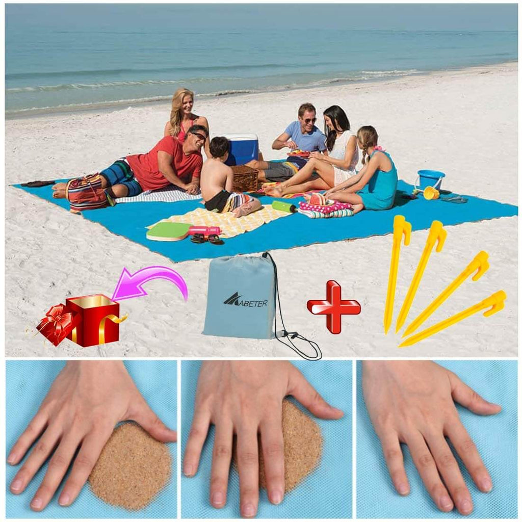 "Sand Free Beach Mat Sand Free Beach Mat Blanket Sand Proof Magic Sandless Sand Dirt & Dust Disappear - Outdoor Picnic Mat for Travel, Camping, Hiking Family - 80"" * 80"" (200cm * 200cm) - Shopptique"