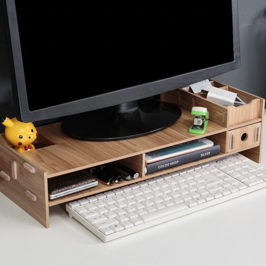 Computer Monitor Riser Mount Stand With Drawer Dark Wood - Shopptique