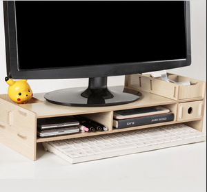 Computer Monitor Riser Mount Stand With Drawer Wood - Shopptique