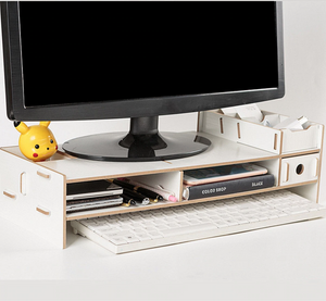 Computer Monitor Riser Mount Stand With Drawer White - Shopptique