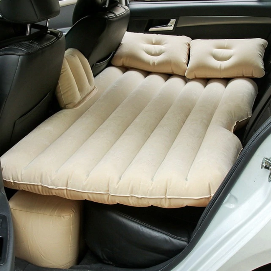 Inflatable Car Air Mattress Bed For Back Seat Beige - Shopptique