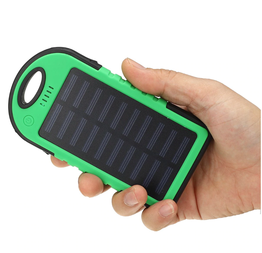 Portable Solar Powered Cell Phone Battery Charger Black and Green - Shopptique