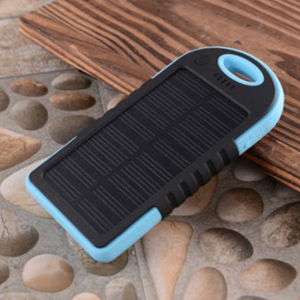 Portable Solar Powered Cell Phone Battery Charger Black and Blue - Shopptique