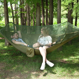 Premium Portable Camping Hammock With Mosquito And Bug Net Army Green Set - Shopptique