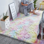 "Fluffy™ Super Soft Luxurious Carpet Shopptique Super Soft Faux Sheepskin Fur Area Rugs for Bedroom Floor Shaggy Plush Carpet Faux Fur Rug Bedside Rugs Rainbow (High Demand) / Small - 50cm X 80cm (20"" X 30"") - Shopptique"