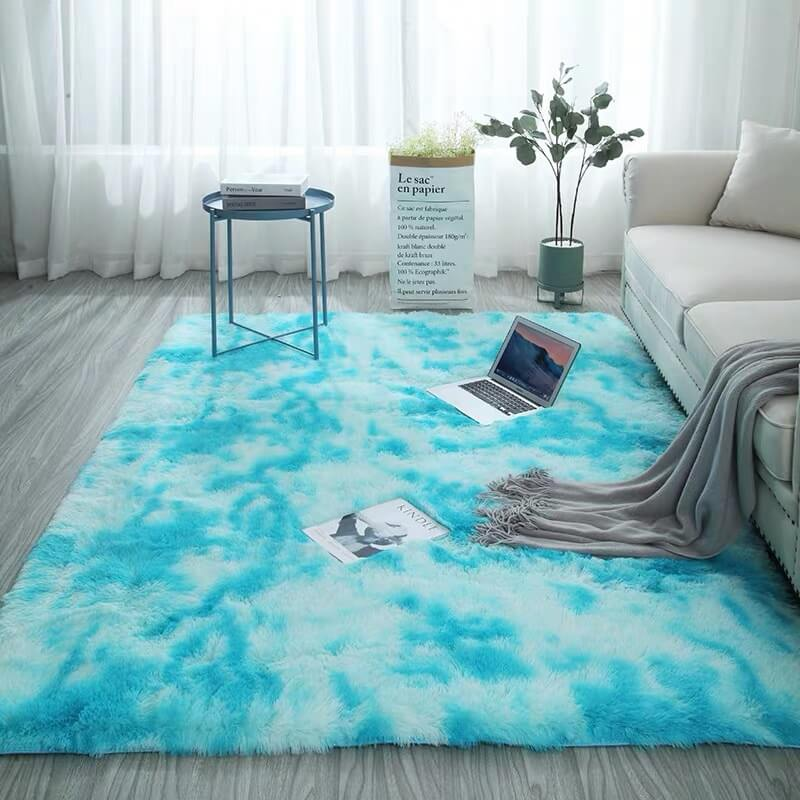 "Fluffy™ Super Soft Luxurious Carpet Shopptique Super Soft Faux Sheepskin Fur Area Rugs for Bedroom Floor Shaggy Plush Carpet Faux Fur Rug Bedside Rugs Sky Blue / X Small - 40cm X 60cm (15"" X 25"") - Shopptique"