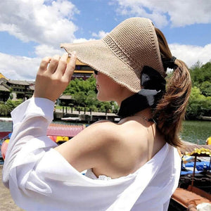 [Last Day Promotion] Ponytail Roll Up Sun Visor Hat StrawHat™ Foldable Summer Straw Ponytail Roll Up Hat - Womens Beach Sun Straw Hat - Travel Foldable Brim Summer UV Hat Topless Bow / Khaki - Shopptique