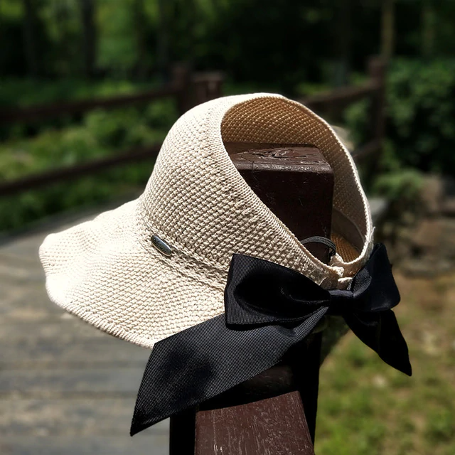 Topless Bow Ponytail Roll Up Hat StrawHat™ Foldable Summer Straw Ponytail Roll Up Hat - Womens Beach Sun Straw Hat - Travel Foldable Brim Summer UV Hat Beige - Shopptique