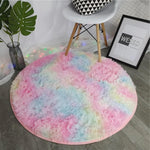 "Fluffy™ Super Soft Luxurious Round Carpet Super Soft Faux Sheepskin Fur Area Rugs for Bedroom Floor Shaggy Plush Carpet Faux Fur Rug Bedside Rugs Rainbow / Diameter = 60cm (25"") (2ft) - Shopptique"