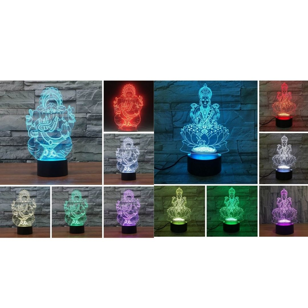 3D Diwali Lamp - 7 Color Interchangeable 3D Diwali Lamp - Goddess Lakshmi - Lord Ganesha - Diwali Gifts Store Set of both - Save 40% - Shopptique