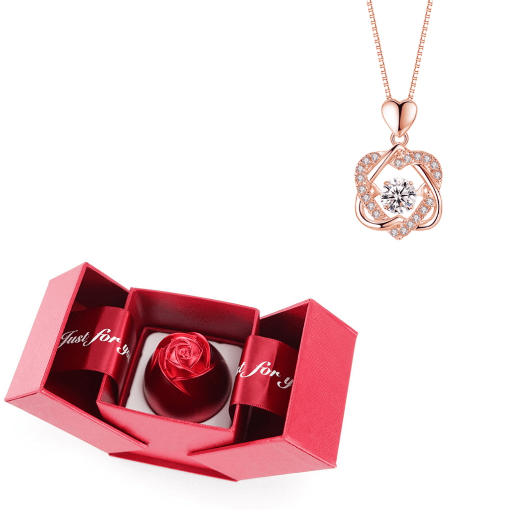 Eternal Heart Necklace Set with Rose Eternal Rose Heart Necklace Set - Creative Metal Rose Flower Box Blossom Rose / Rose Gold Necklace - Shopptique