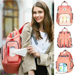 Multi-functional USB Maternity Diaper Backpack Best Diaper USB Bags - Nursing Bags - Diaper Bag Backpack Orange - Shopptique