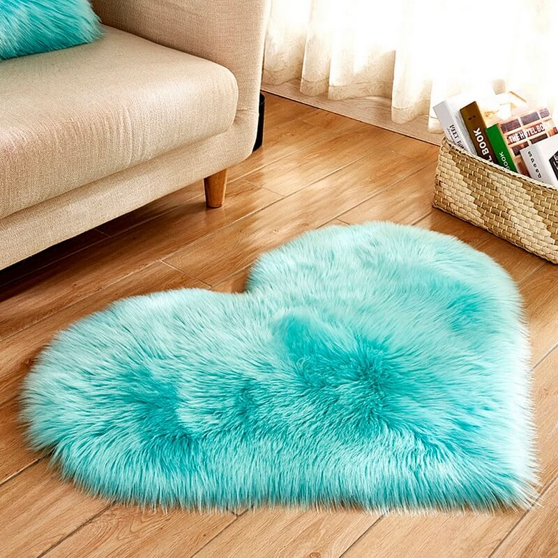 Fluffy™ Heart Love Rug uper Soft Faux Sheepskin Fur Area Rugs for Bedroom Floor Shaggy Plush Carpet Faux Fur Rug Bedside Rugs Sky Blue / Small - 30cm X 40cm - Shopptique