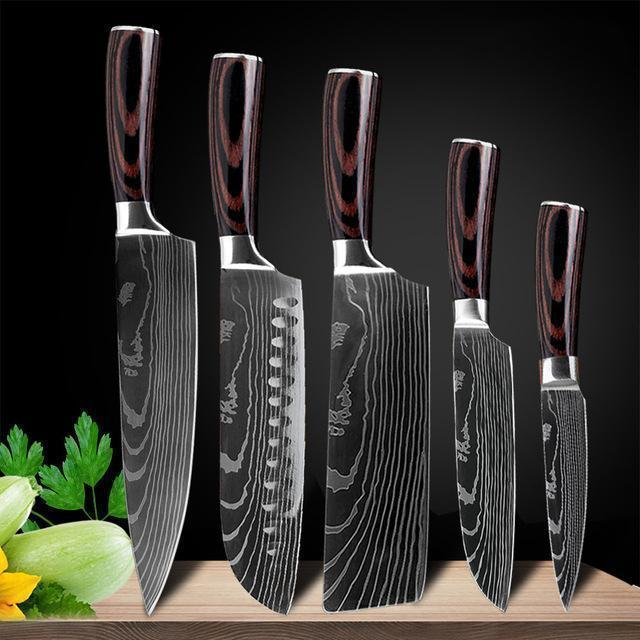 Japanese Chef Knife Set - Stainless Steel Blades Chef Knife Set - japanese kitchen knives Laser Damascus pattern chef knife - Stainless Steel Kitchen Knives Set, 8 inch Chef Knife, High Carbon Stainless Steel Knife - Shopptique