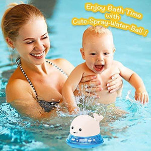 2 in 1 Baby Bath Toy bathroom water spray toy - Led Light Water Spray Ball Baby Bath Water Toys Automatic Induction Toys Blue + White [50% OFF] - Shopptique