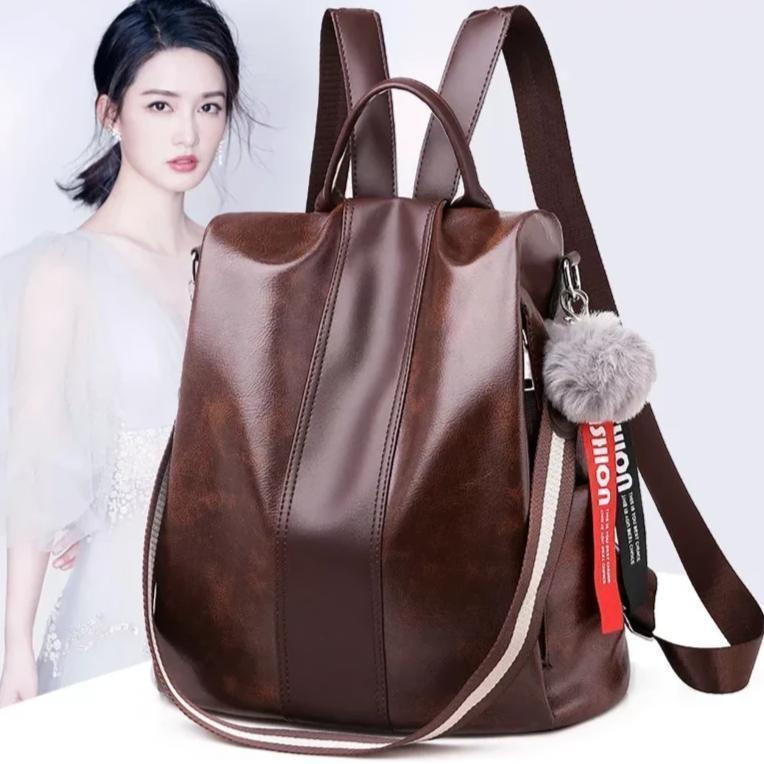 Waterproof 3 Way Anti-Theft Women's Backpack Handbag, Shoulder Bag, Sling Bag, Satchel Bag, Tote Bag and Crossbody Bags For Women Brown PU - Shopptique