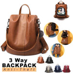 Waterproof 3 Way Anti-Theft Women's Backpack Handbag, Shoulder Bag, Sling Bag, Satchel Bag, Tote Bag and Crossbody Bags For Women Brown - Shopptique