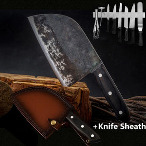 Knifique™️ Premium Handmade Chef's Knife and Sheath handmade-forged-chef-knife-clad-steel-forged-cleaver-professional-kitchen-knives-meat-vegetables-slicing-chopping-tool Professional Set (with 35 cm Magnetic Knife Holder) - Shopptique
