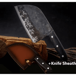 Knifique™️ Premium Handmade Chef's Knife and Sheath handmade-forged-chef-knife-clad-steel-forged-cleaver-professional-kitchen-knives-meat-vegetables-slicing-chopping-tool Standard Set - Shopptique