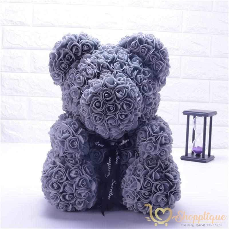 Handmade Valentines Day Rose Bear Handmade Valentines Day Rose Bear - Bear made of roses Gray / LED Light - Shopptique