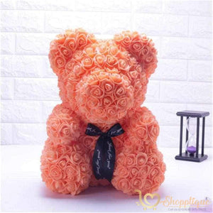 Handmade Valentines Day Rose Bear Handmade Valentines Day Rose Bear - Bear made of roses Orange / LED Light - Shopptique