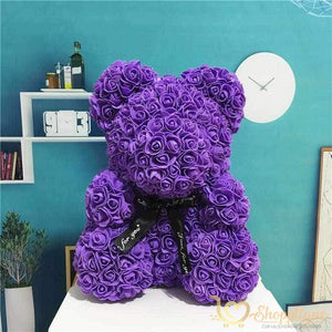 Handmade Valentines Day Rose Bear Handmade Valentines Day Rose Bear - Bear made of roses Purple / LED Light - Shopptique
