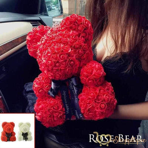 Handmade Valentines Day Rose Bear Handmade Valentines Day Rose Bear - Bear made of roses Red / LED Light - Shopptique