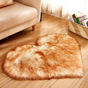 Fluffy™ Heart Love Rug uper Soft Faux Sheepskin Fur Area Rugs for Bedroom Floor Shaggy Plush Carpet Faux Fur Rug Bedside Rugs Khaki / Small - 30cm X 40cm - Shopptique