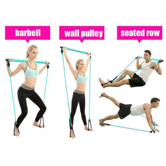 8 in 1 Portable Pilates Bar Kit Pilates Resistance Band and Toning Bar Home Gym, Portable Pilates Total Body Workout, Yoga, Fitness, Stretch, Sculpt, Tone Blue - Shopptique
